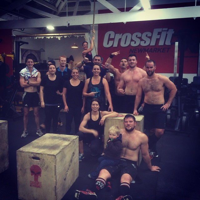 """The lunchtime crew from Falkel yesterday gathered together to farewell Ollie Cubitt, off on his big OE today but not before inviting y'all to go smash """"Linda"""" with him at 6am . Also known as the """"3 Bars of Death"""" this workout was my first ever CrossFit workout 4 1/2 years ago, and a first at CFN. You too may feel it / dream about it  weeks later..;-)"""