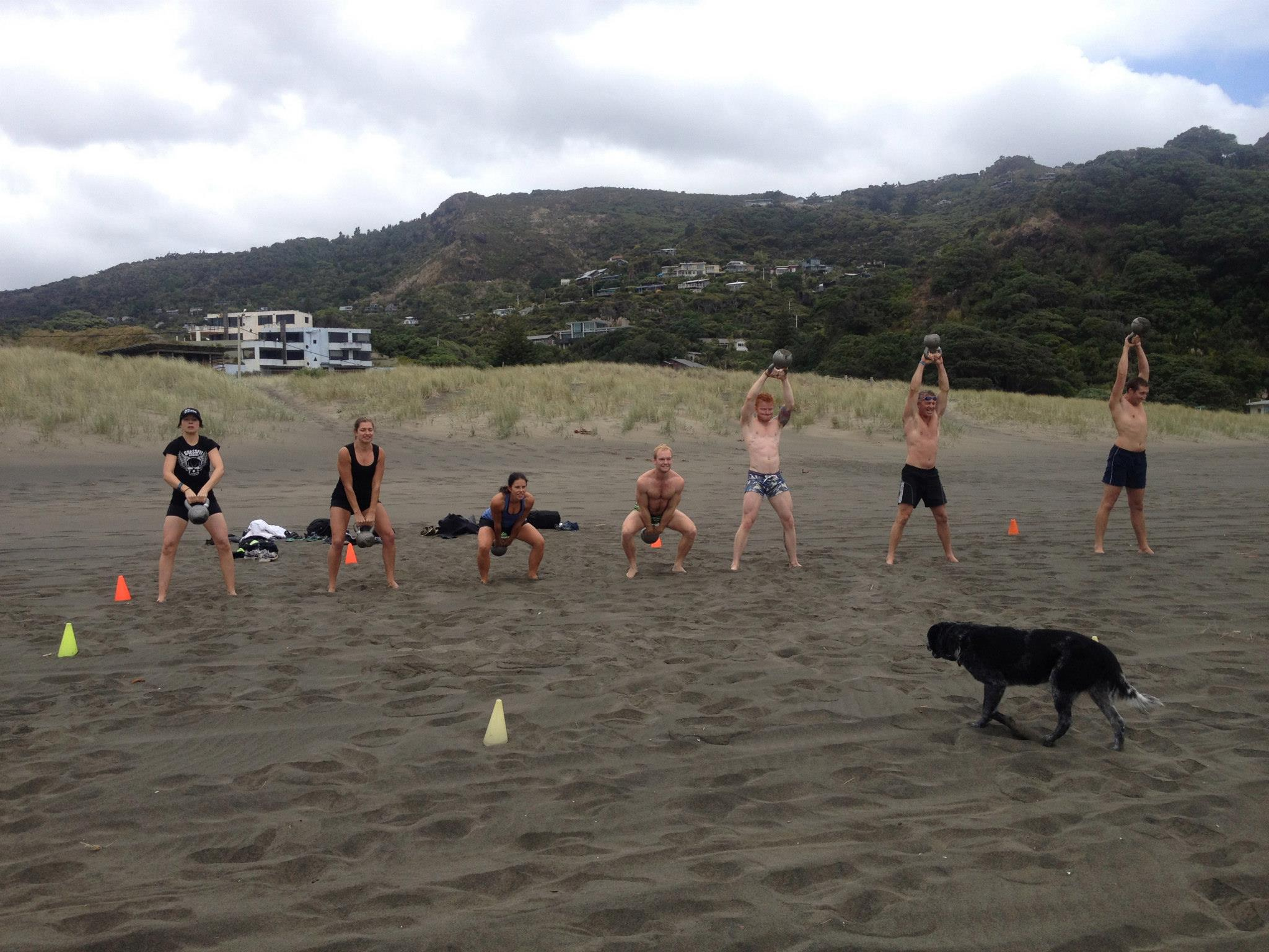 The Piha Throwdown Crew ripping into the second wod during Saturdays mammoth day of energy sapping soul destroying beach and bush workouts. Big thanks to Coach Ant who structured an awesome day for those who attended . And today is the final day to get your 14.1 score in. Well done to all those who've  faced the savagery already and in some cases improved considerably in their second shot at it!