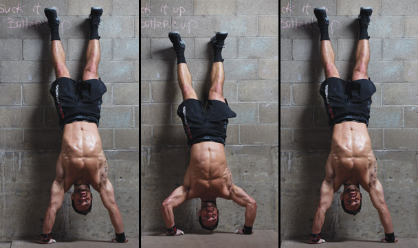 Today we focus on setting up our tripod, getting tight in the middle and inverting with the goal of nailing that scary as hell handstand push up. Then more pressing in the form of 100 pushups, and of course some more jumping ;-)